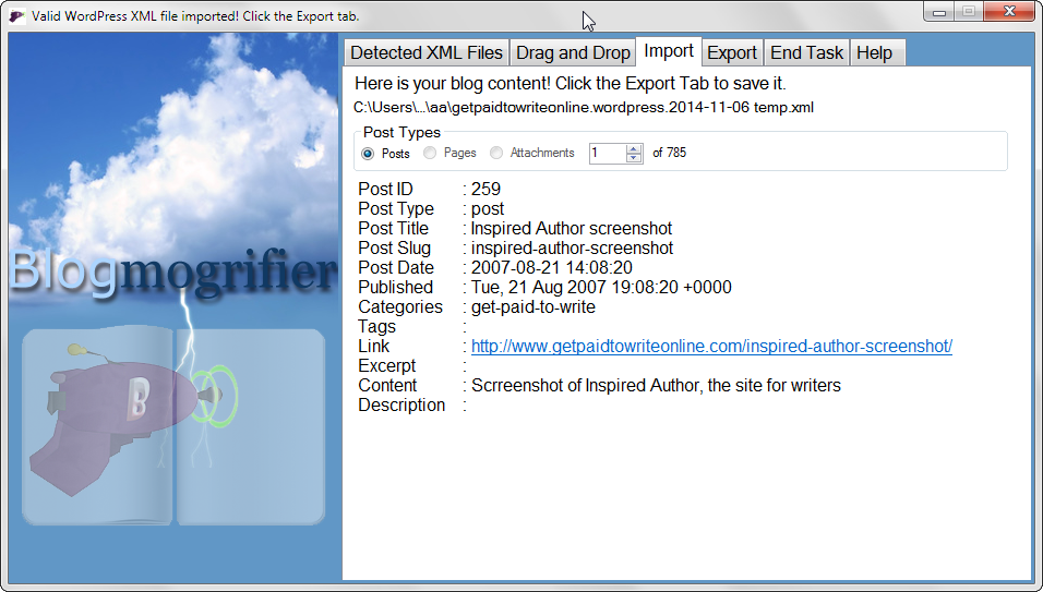 Blogmogrifier Import