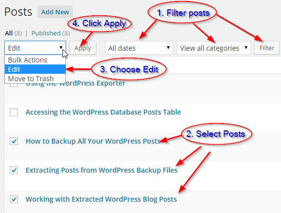 WordPress Bulk Editor